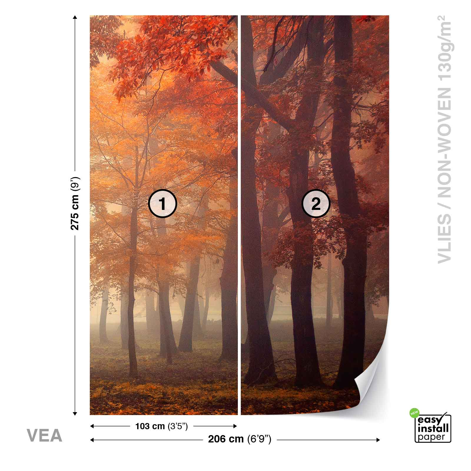 Wall mural photo wallpaper xxl trees park woods forest for Autumn forest 216 wall mural