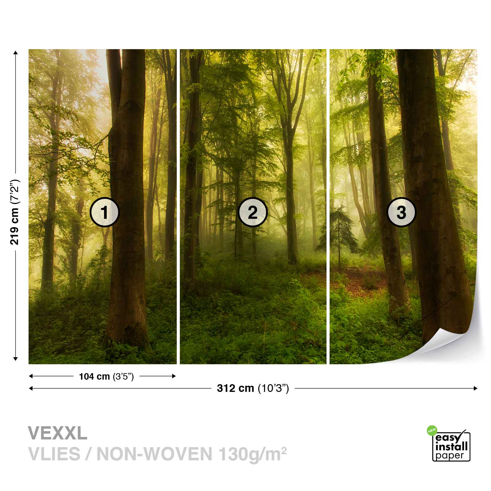fototapete vlies fotomural xxl wald tannicht hain natur baumstamm 1x 1140641ws ebay. Black Bedroom Furniture Sets. Home Design Ideas