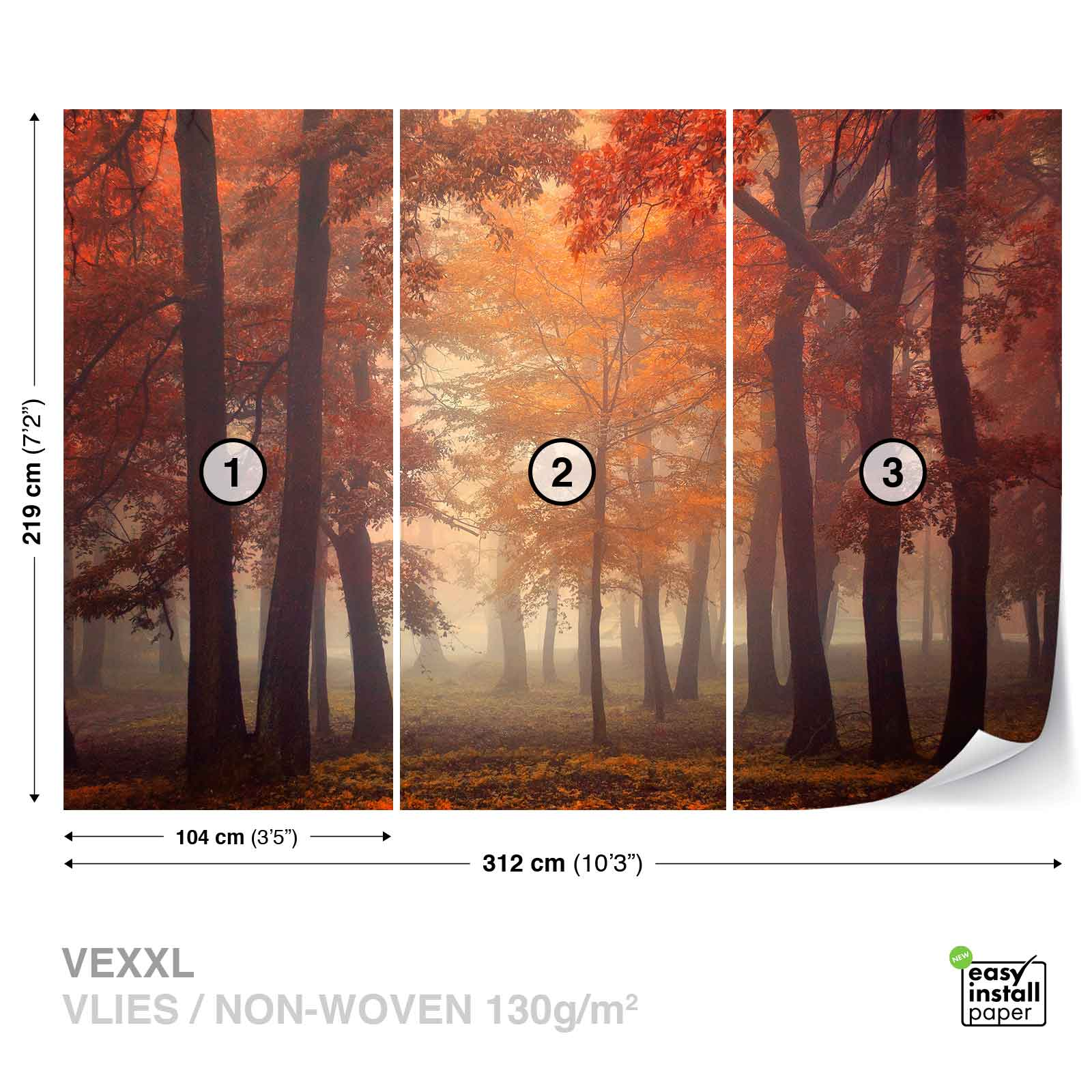 Wall mural photo wallpaper xxl trees park woods forest for Autumn wall mural
