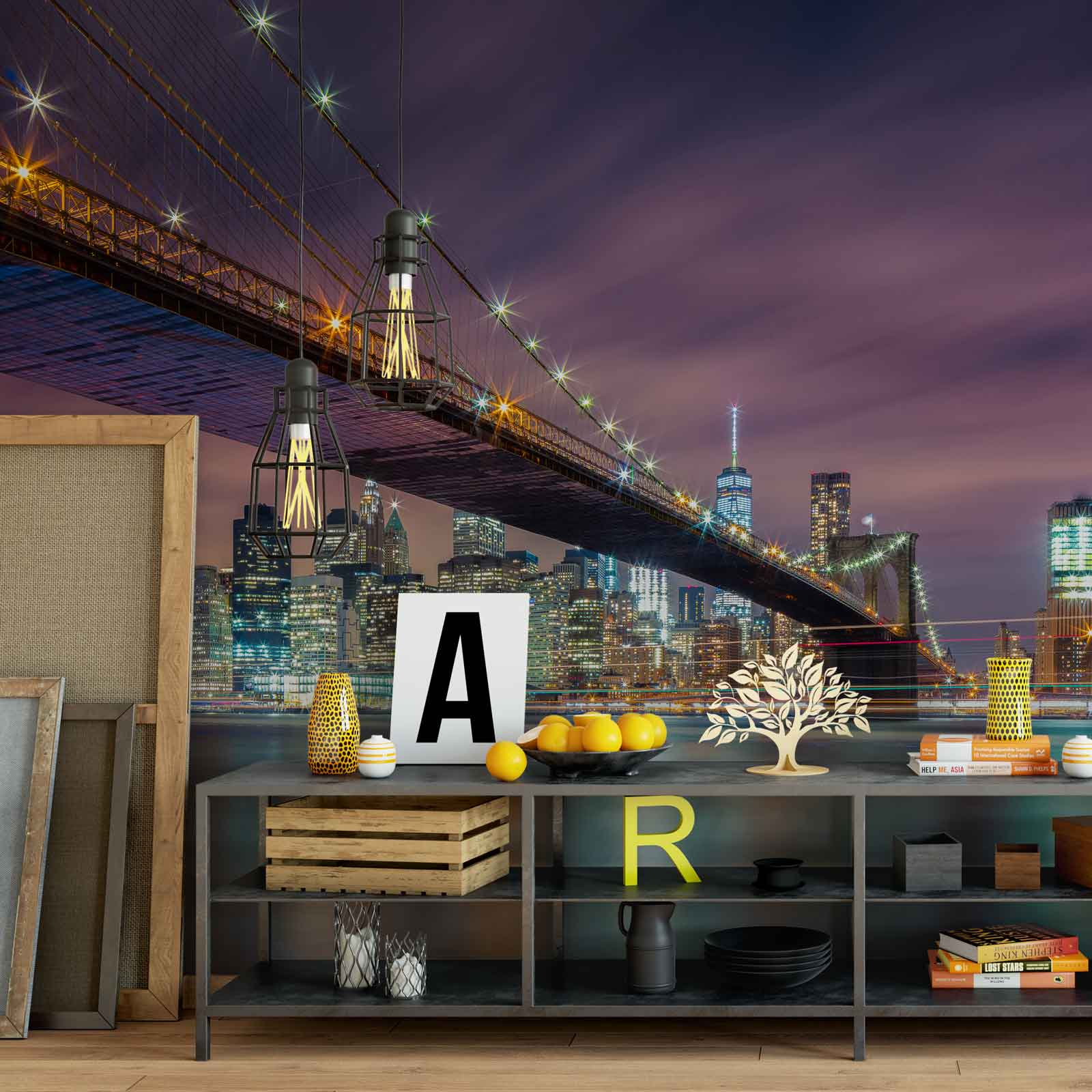 Wall mural photo wallpaper xxl brooklyn bridge night new for Brooklyn bridge wallpaper mural