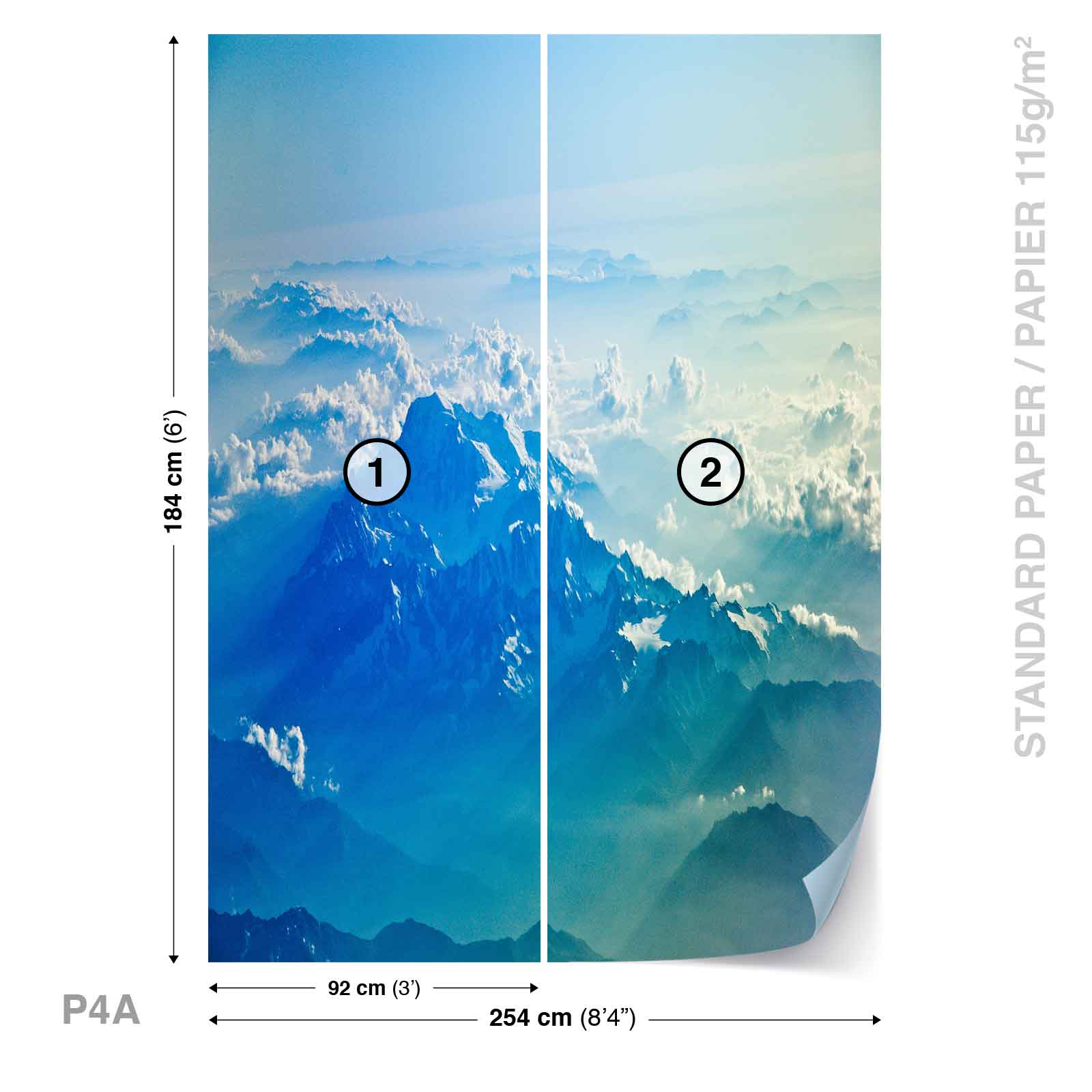 Wall mural photo wallpaper xxl ice mountain peaks top snow for Clouds wall mural
