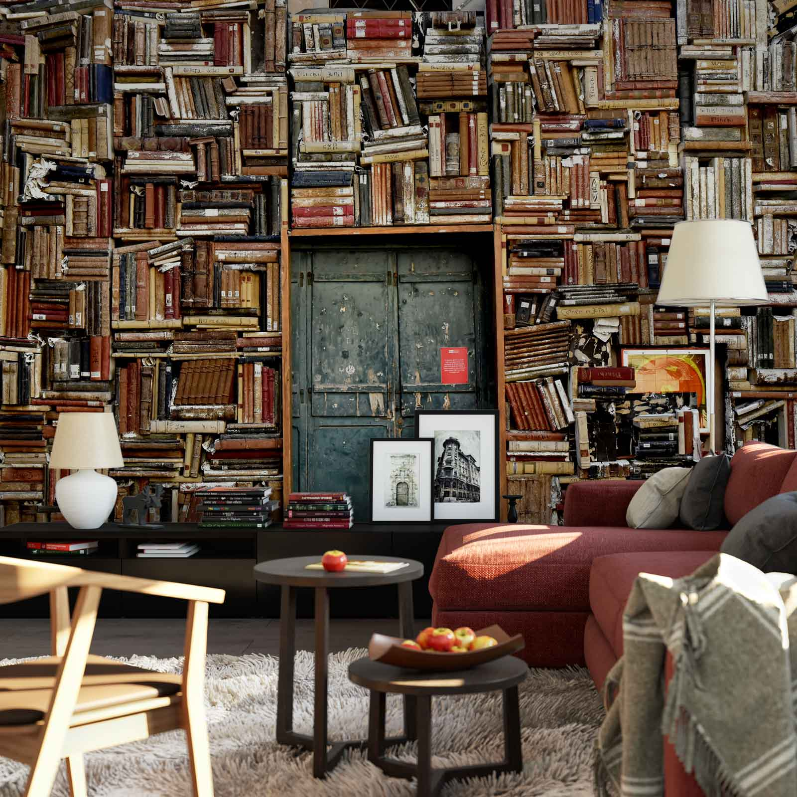 WALL MURAL PHOTO WALLPAPER XXL Books Pile Library Wall Bookshelf