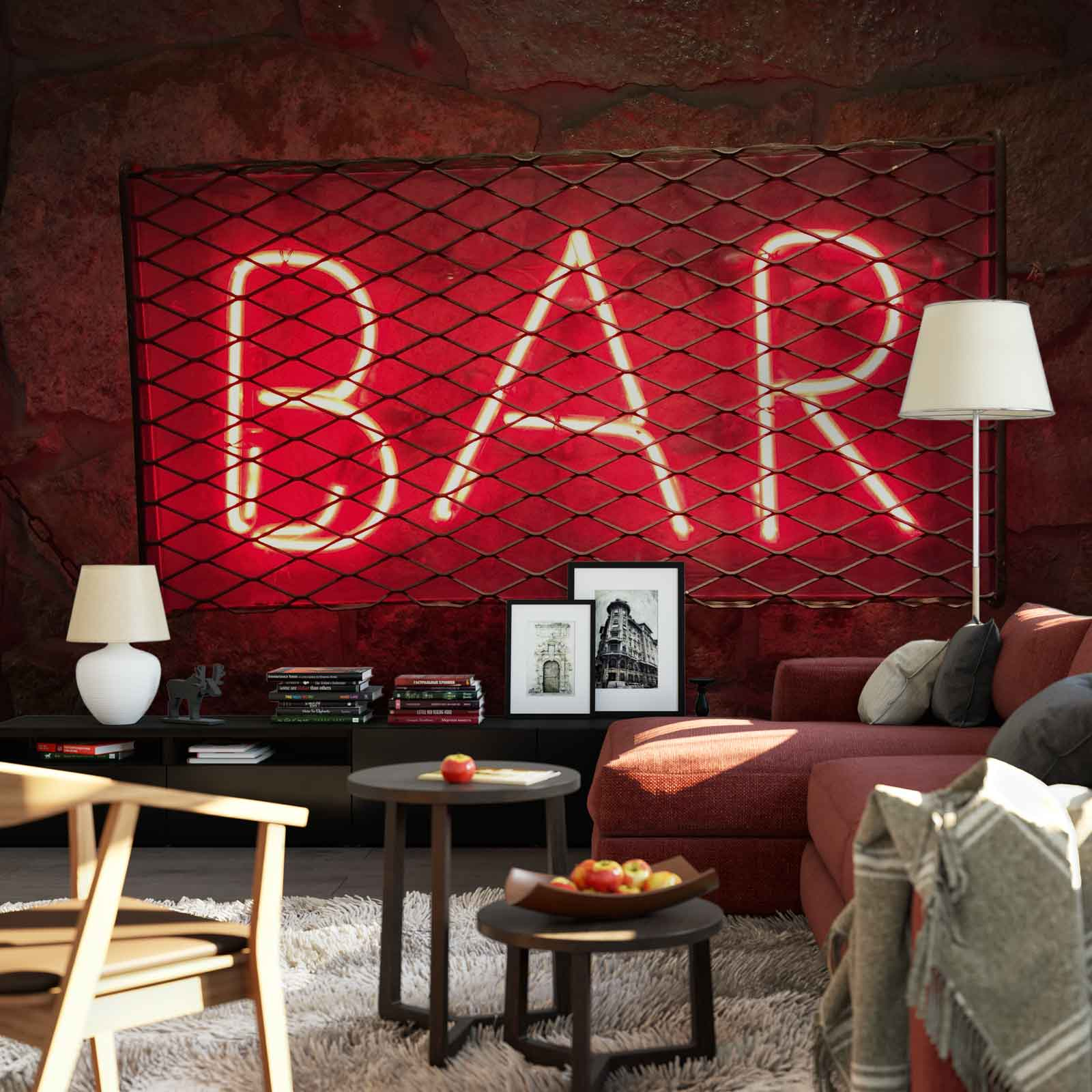 wall mural photo wallpaper xxl bar neon light sign grid grille jd 1219ws ebay. Black Bedroom Furniture Sets. Home Design Ideas