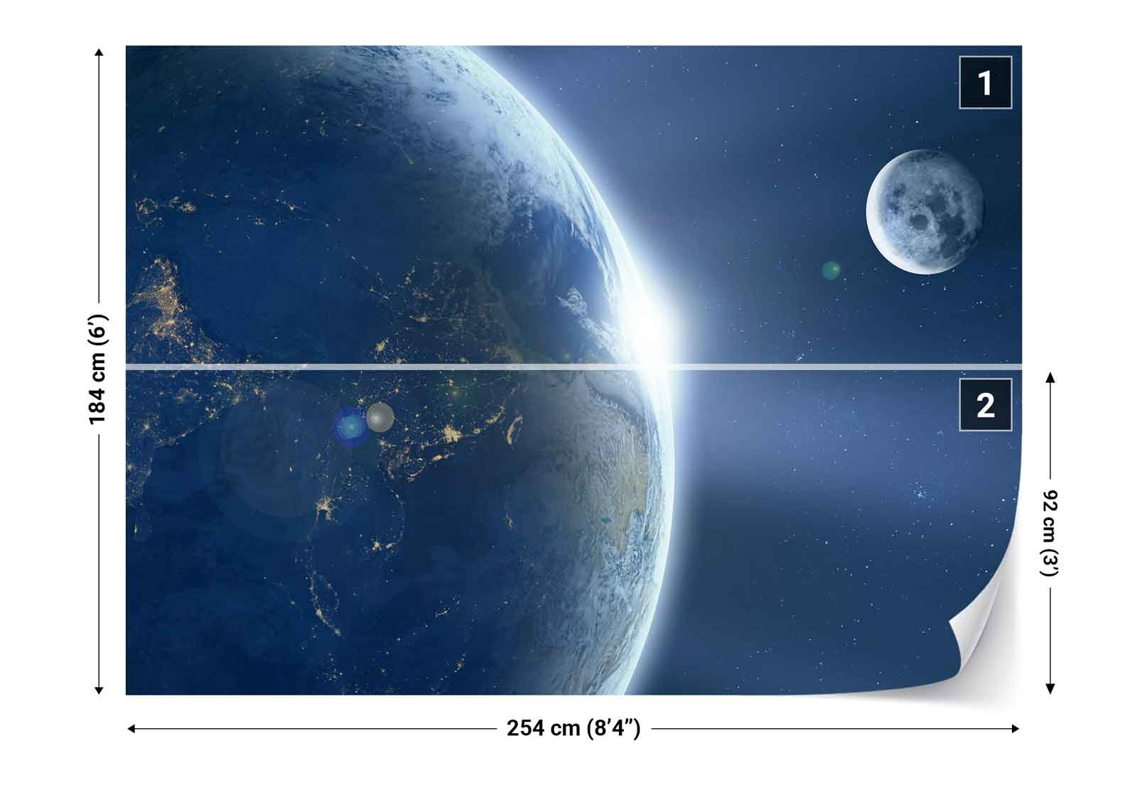 Planet earth moon space photo wallpaper wall mural fw for Earth moon wall mural