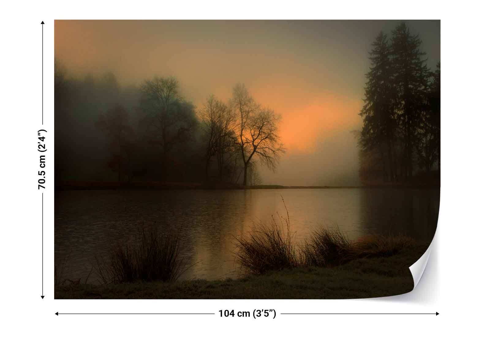 wald teich b ume nebel landschaft vlies fototapete 1x 1059970 tapete ebay. Black Bedroom Furniture Sets. Home Design Ideas