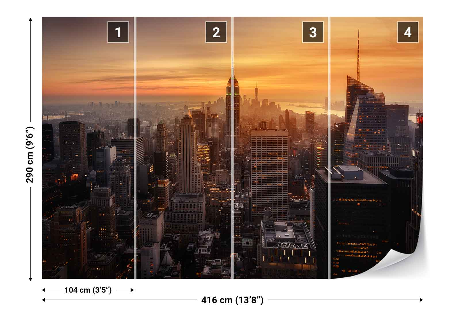 New York City City City Skyscrapers Skyline Photo Wallpaper Wall Mural (1X-1079207) 551757