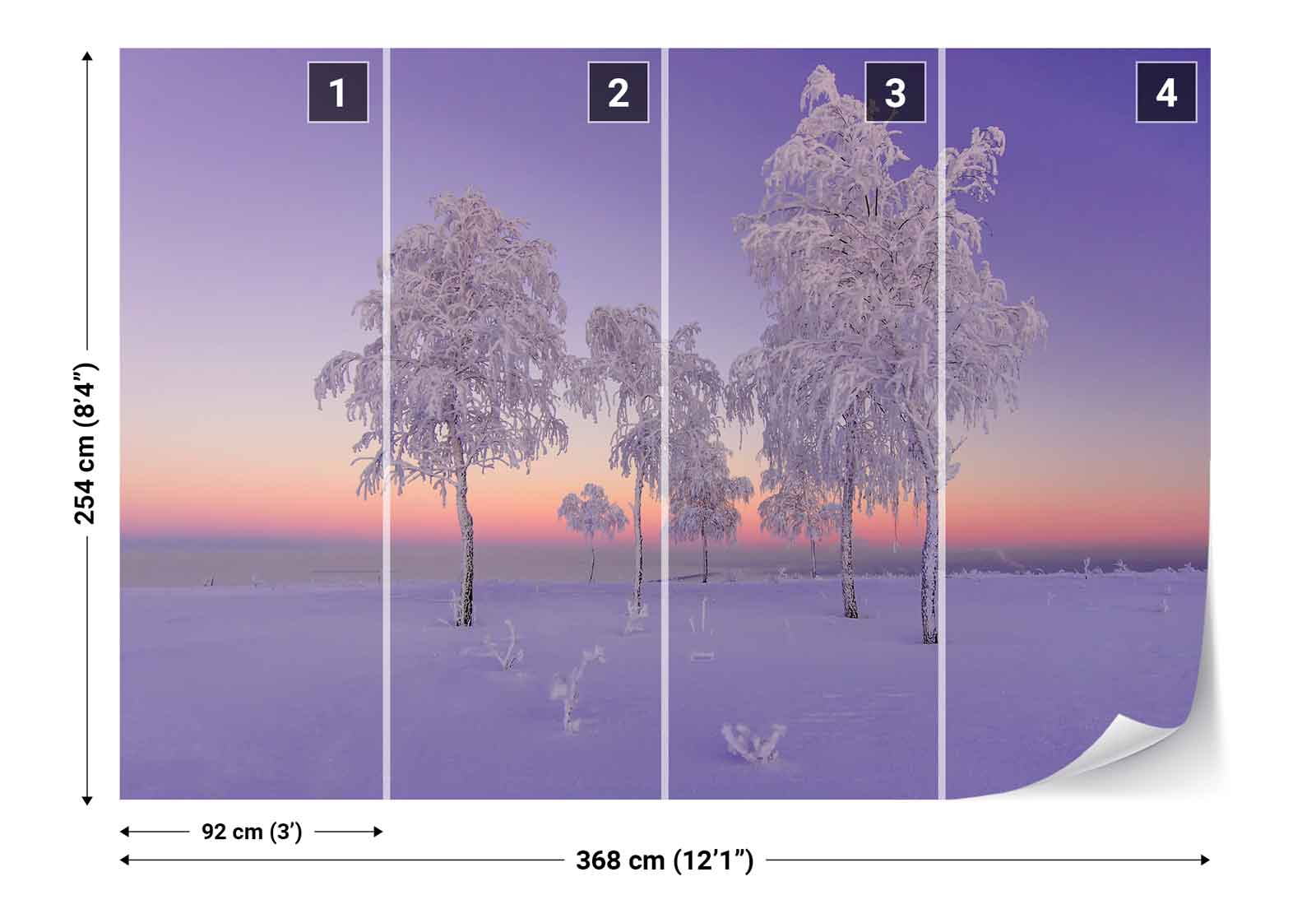 Snow Cover Trees Trees Trees Field Sunset Photo Wallpaper Wall Mural (1X-1123111) 35f202
