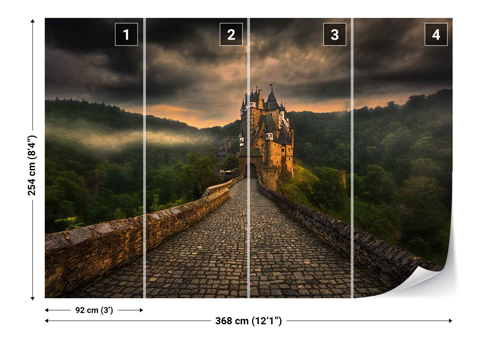 Cobblestone walk way old castle photo wallpaper wall mural for Castle mural wallpaper