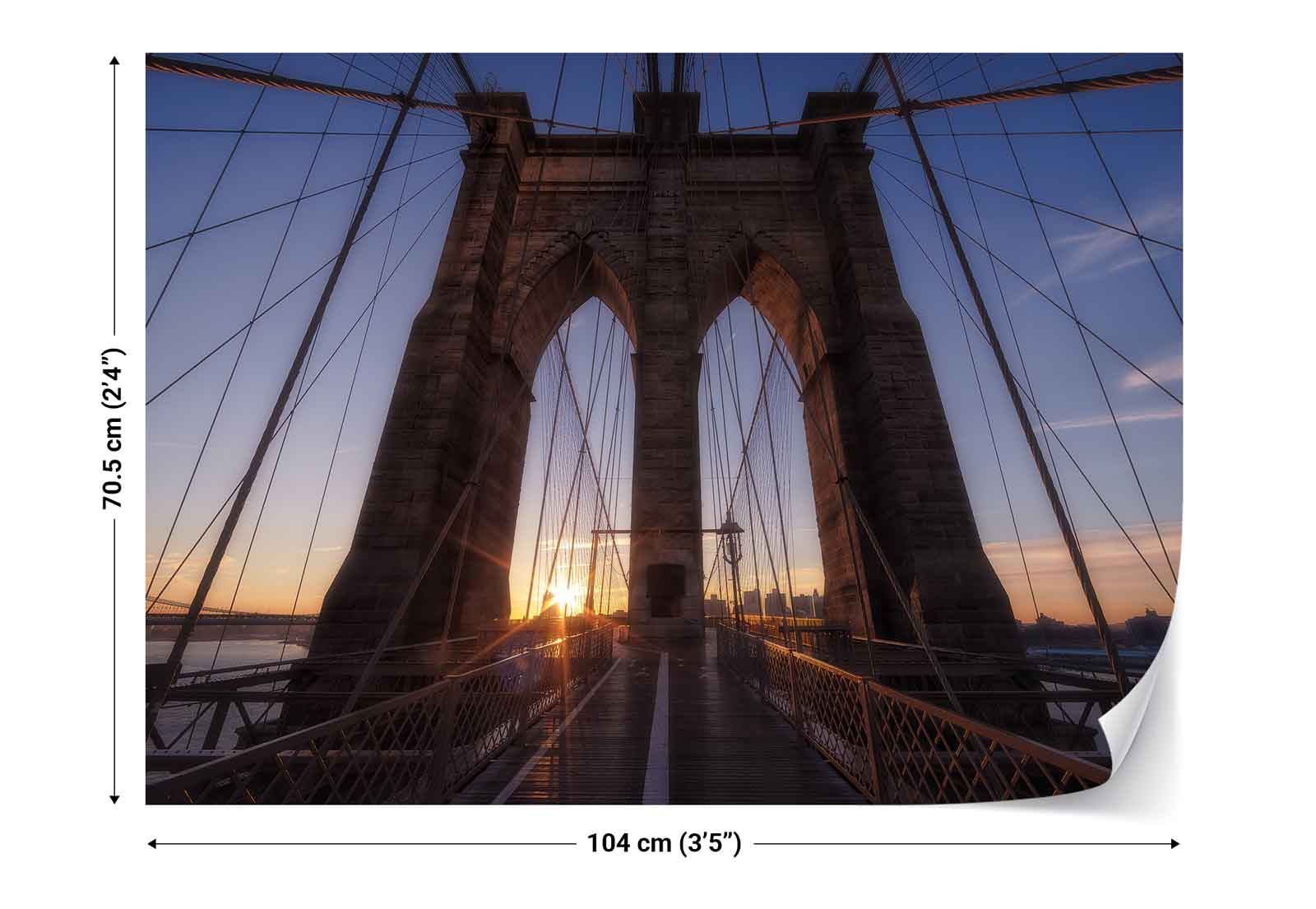 Brooklyn bridge new york city skyline photo wallpaper wall for Brooklyn bridge wall mural
