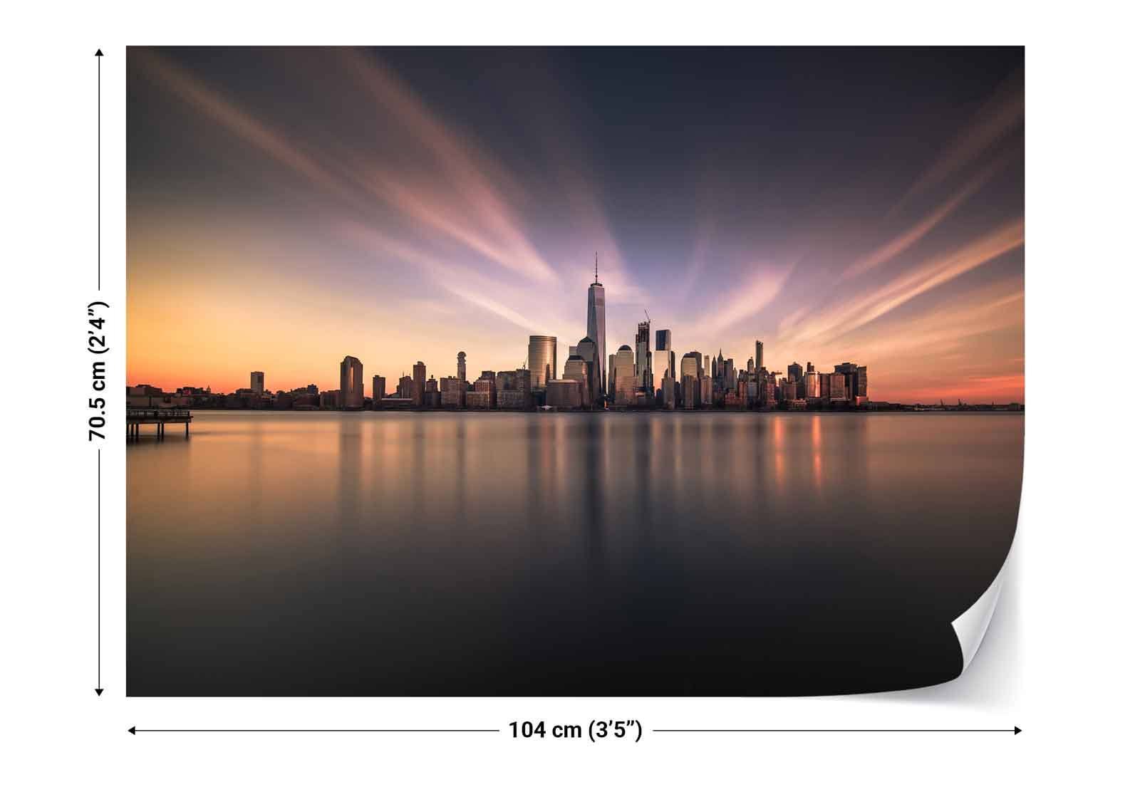 New york city panorama photo wallpaper wall mural 1x for City wall mural