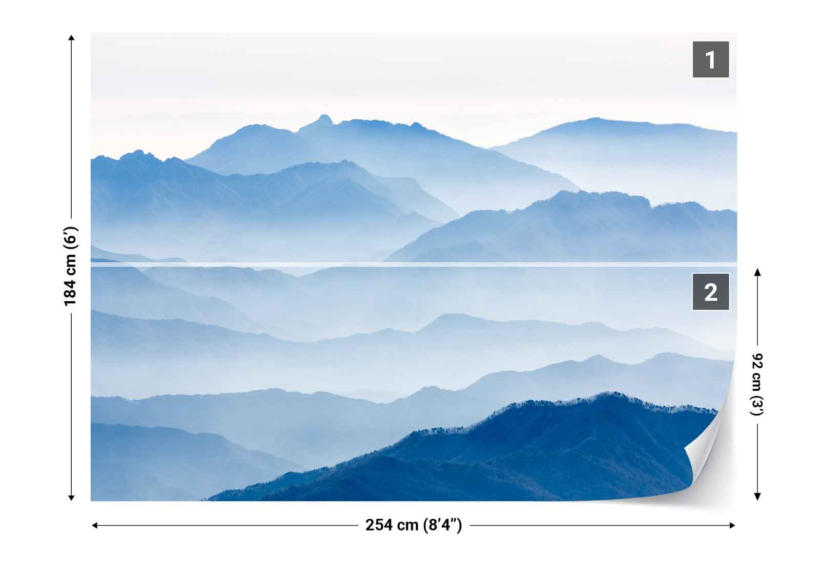 mountain range layers mist photo wallpaper wall mural 1x 1275628 ebay. Black Bedroom Furniture Sets. Home Design Ideas