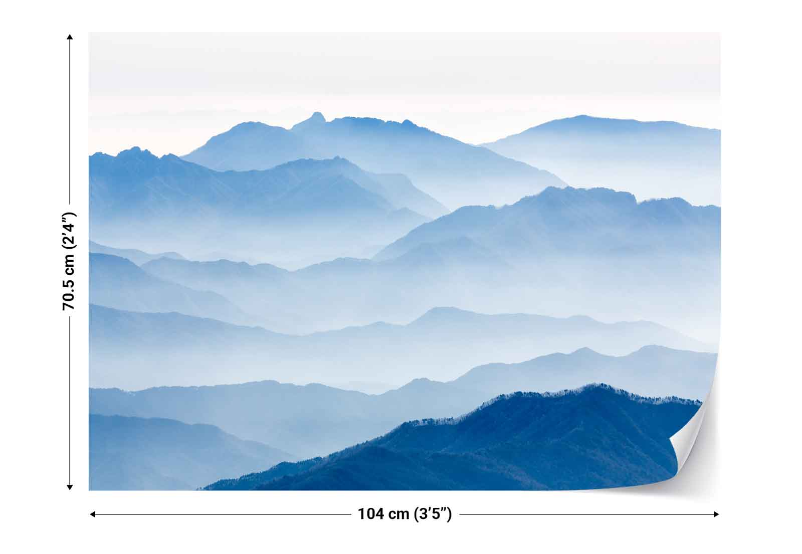 mountain range layers mist photo wallpaper wall mural 1x. Black Bedroom Furniture Sets. Home Design Ideas