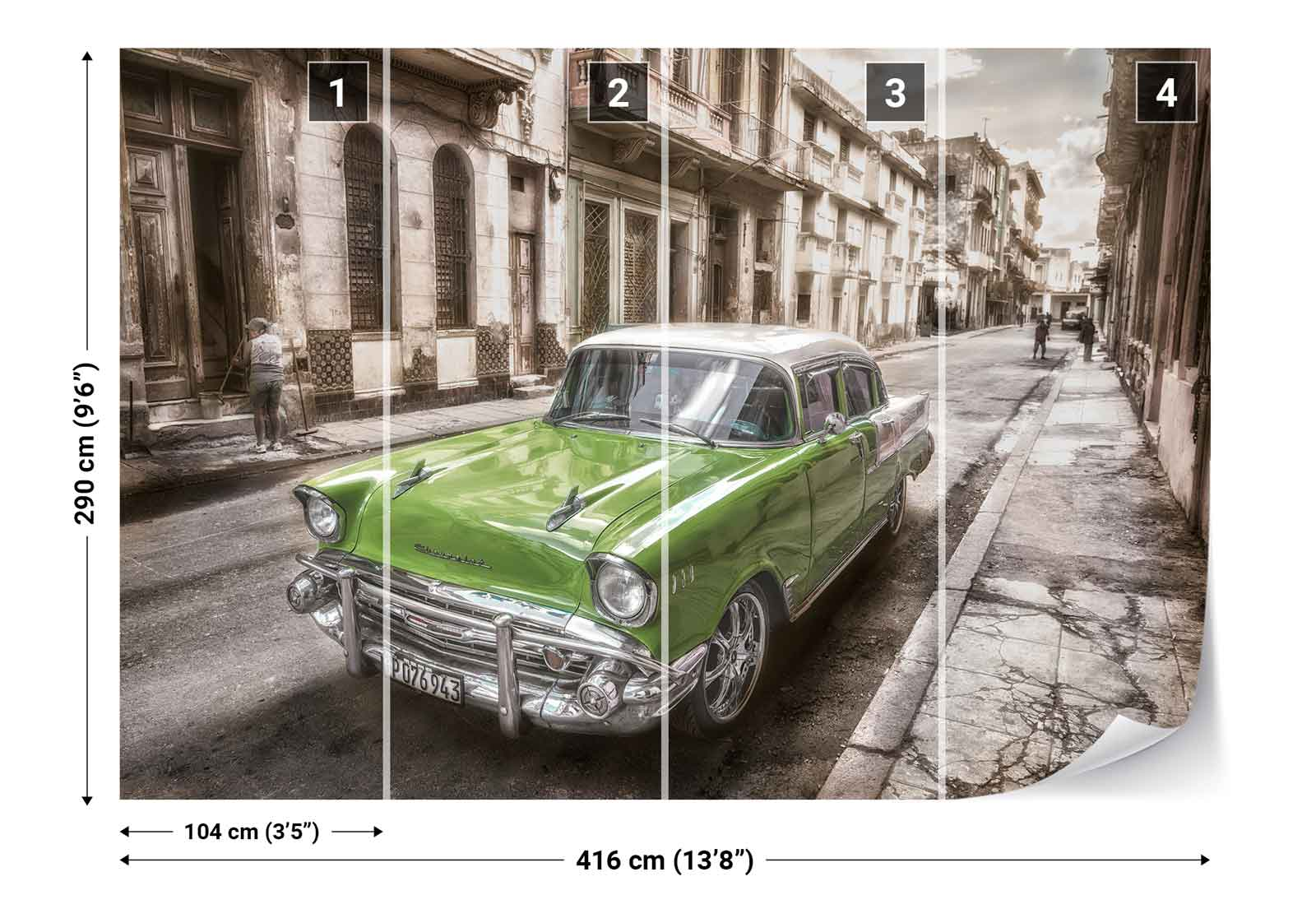 Vintage classic car street houses cuba photo wallpaper for Classic mural wallpaper