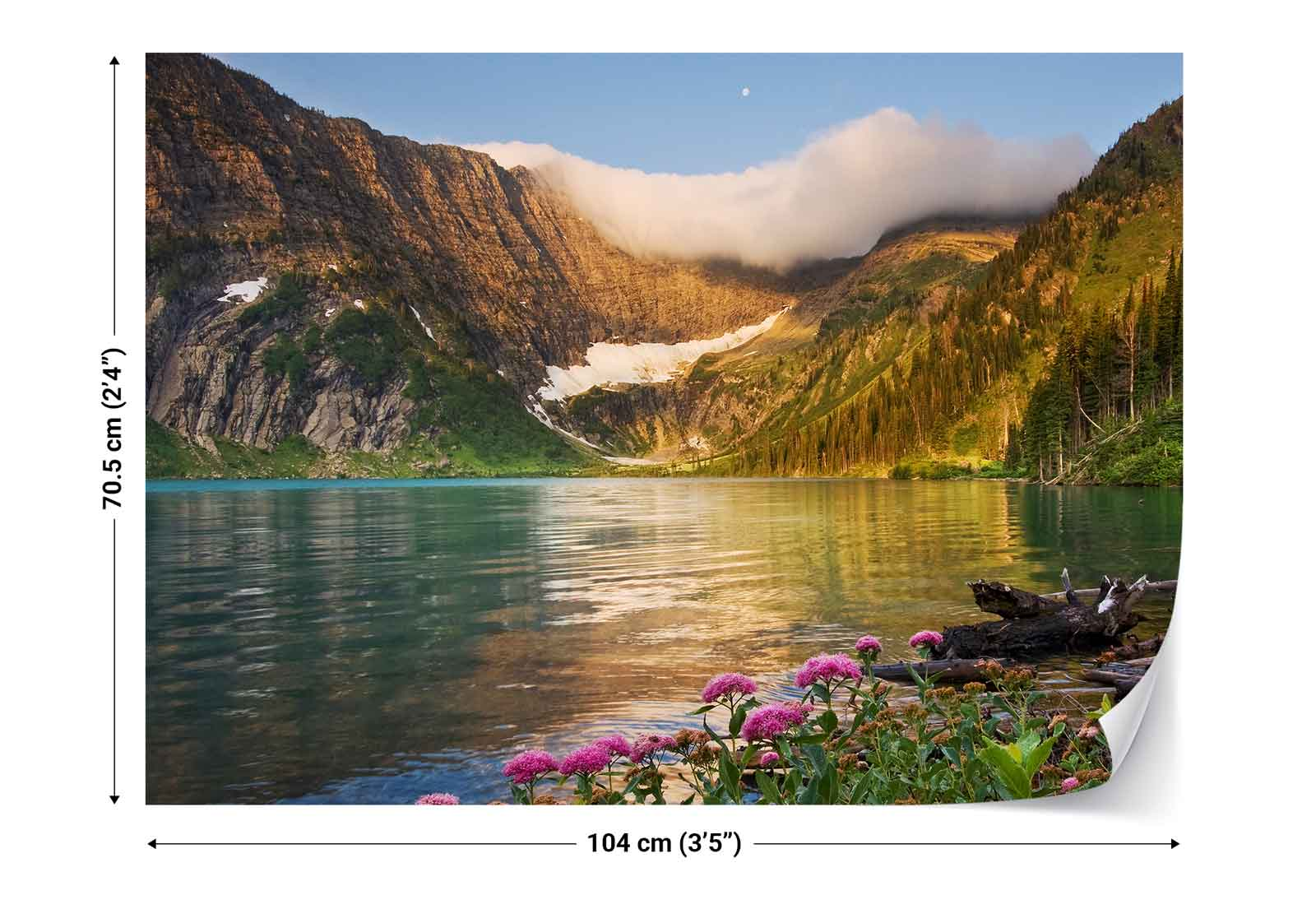 Lakeside flowers mountains cloud photo wallpaper wall for Cloud wallpaper mural