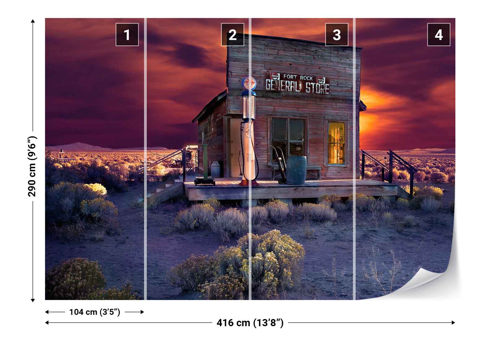 wasteland bar store sunset photo wallpaper wall mural 1x. Black Bedroom Furniture Sets. Home Design Ideas