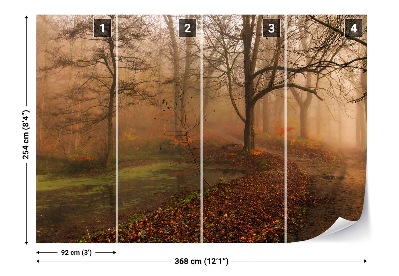 blo e b ume wald stra e teich nebel vlies fototapete 1x 789377 tapete ebay. Black Bedroom Furniture Sets. Home Design Ideas