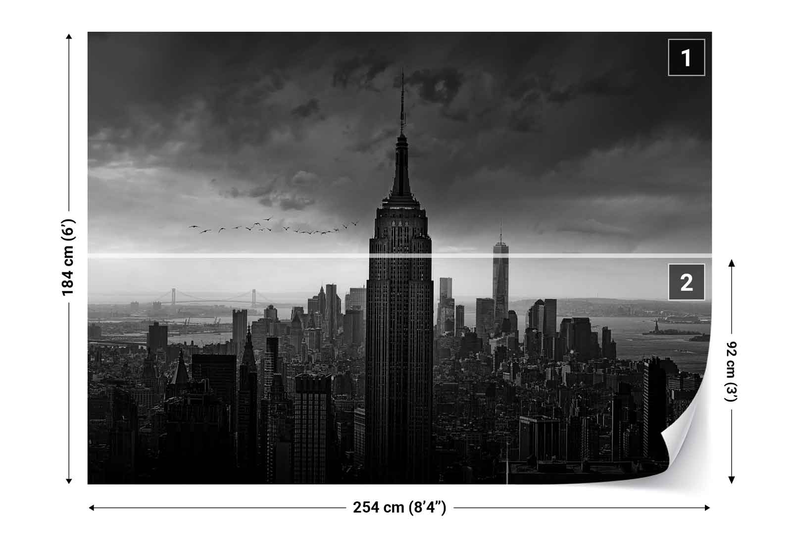 Empire state building new york skyline photo wallpaper for Empire state building wall mural