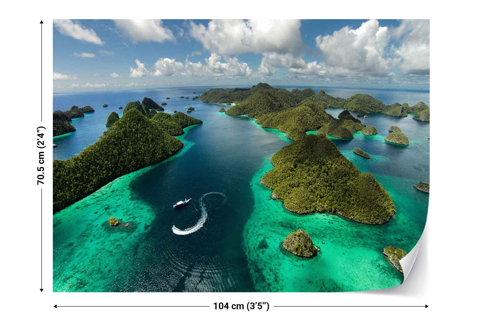 Islands archipelago boat clouds view photo wallpaper wall for Clouds wall mural