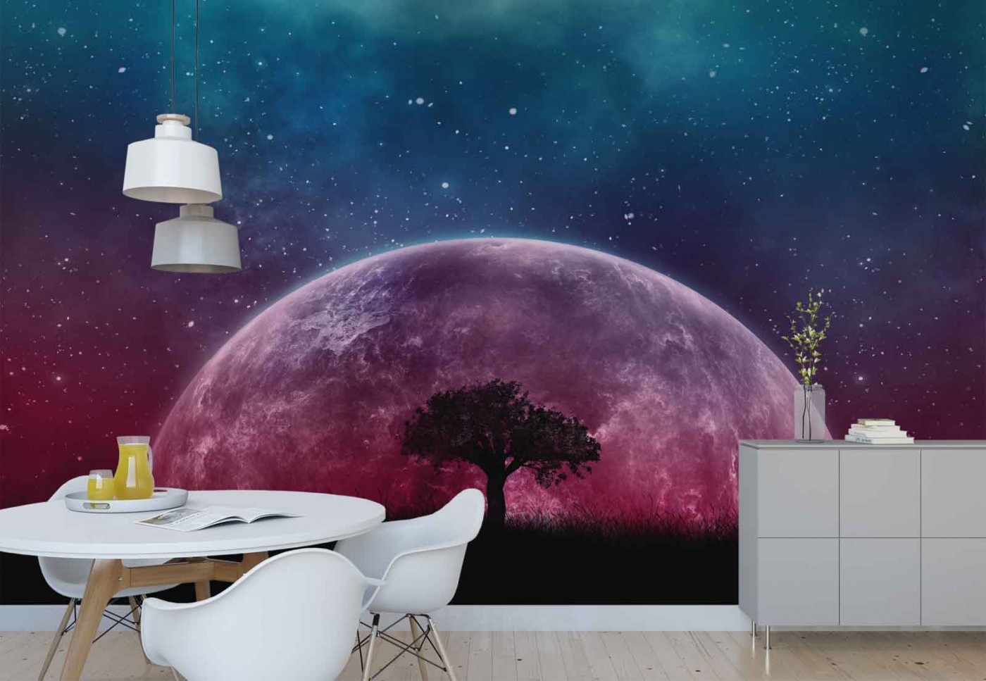 Space Galaxy Tree Silhouette Photo Wallpaper Wall Mural FW-1142