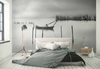 Lake View With Poles And Boat