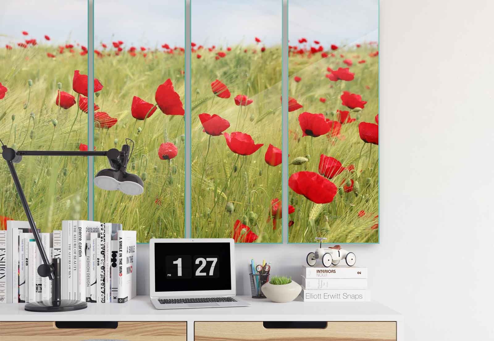 Poppies Field Nature Canvas & Glass Wall Art Pictures (FW-1040) | eBay