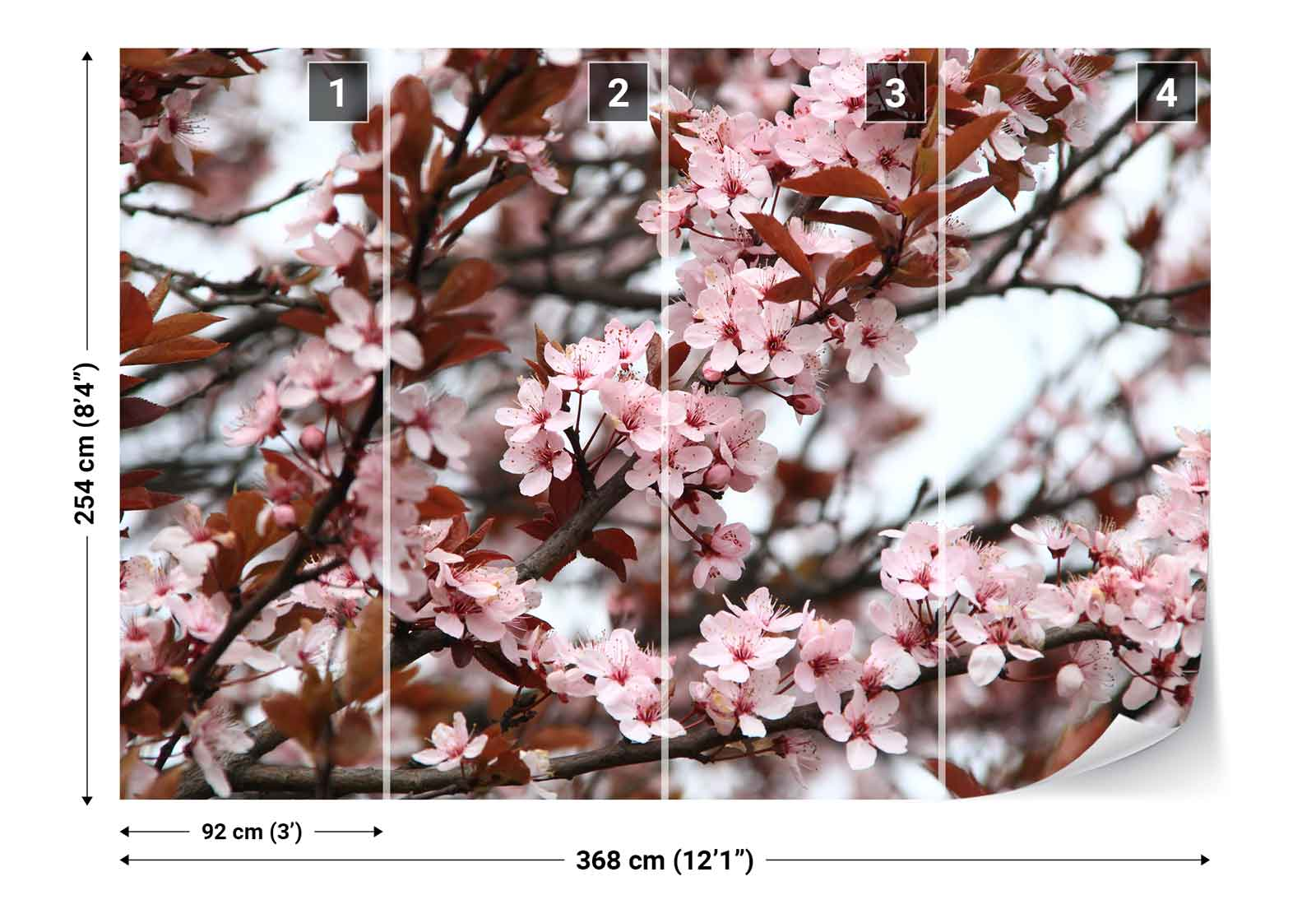 Cherry blossoms pink photo wallpaper wall mural fw 1043 for Cherry blossom mural