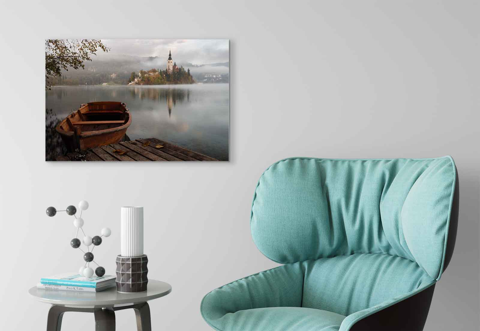 Lake Boat Island  Canvas Canvas Canvas & Glass Wall Art Pictures (FW-1066) 054ac4