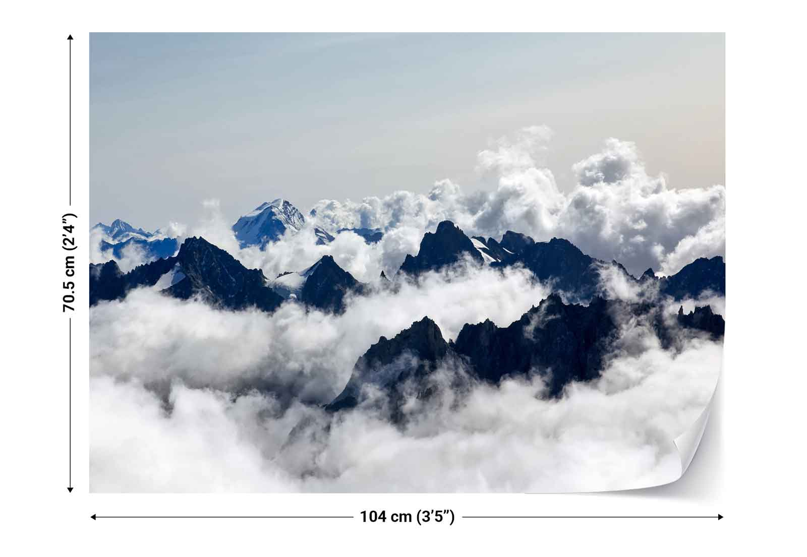 Mountains clouds landscape photo wallpaper wall mural fw for Clouds wall mural