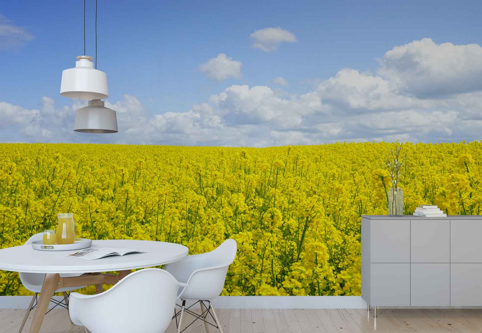 Field Rapeseeds Flowers  Photo Wallpaper Wall Mural (FW-1077)