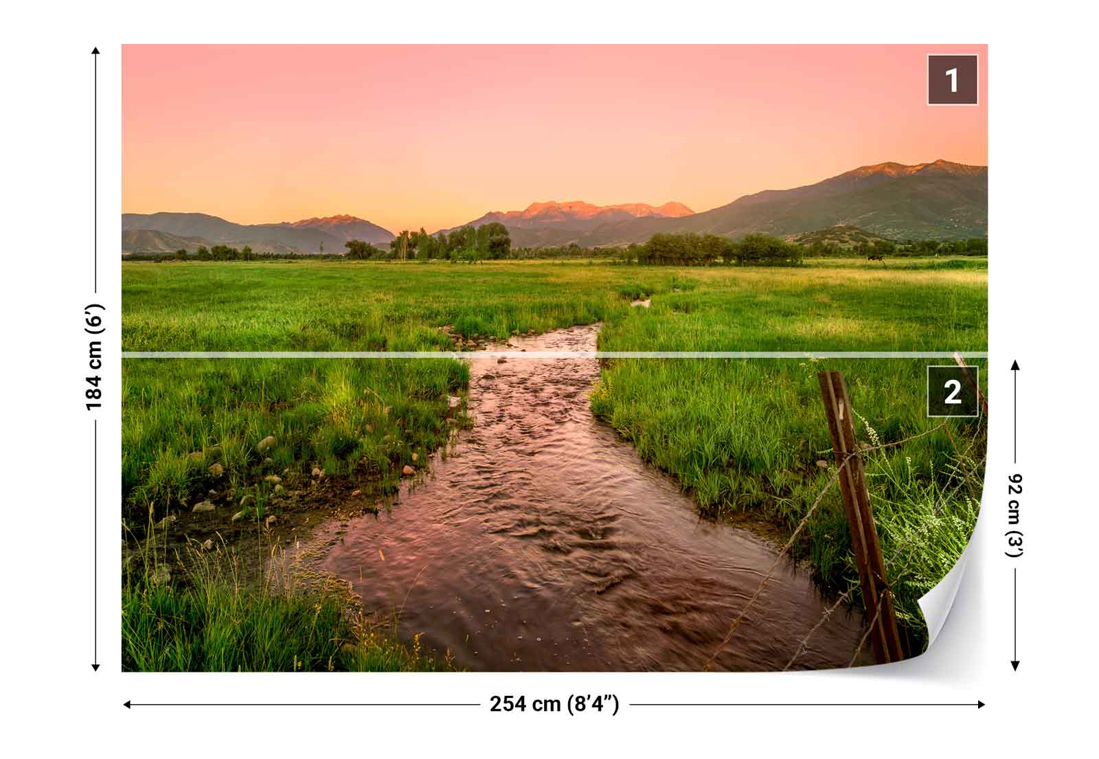 River countryside sunset photo wallpaper wall mural fw for Countryside wallpaper for walls