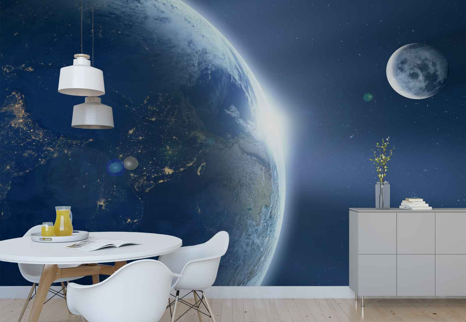 Planet Earth Moon Space Photo Wallpaper Wall Mural (FW