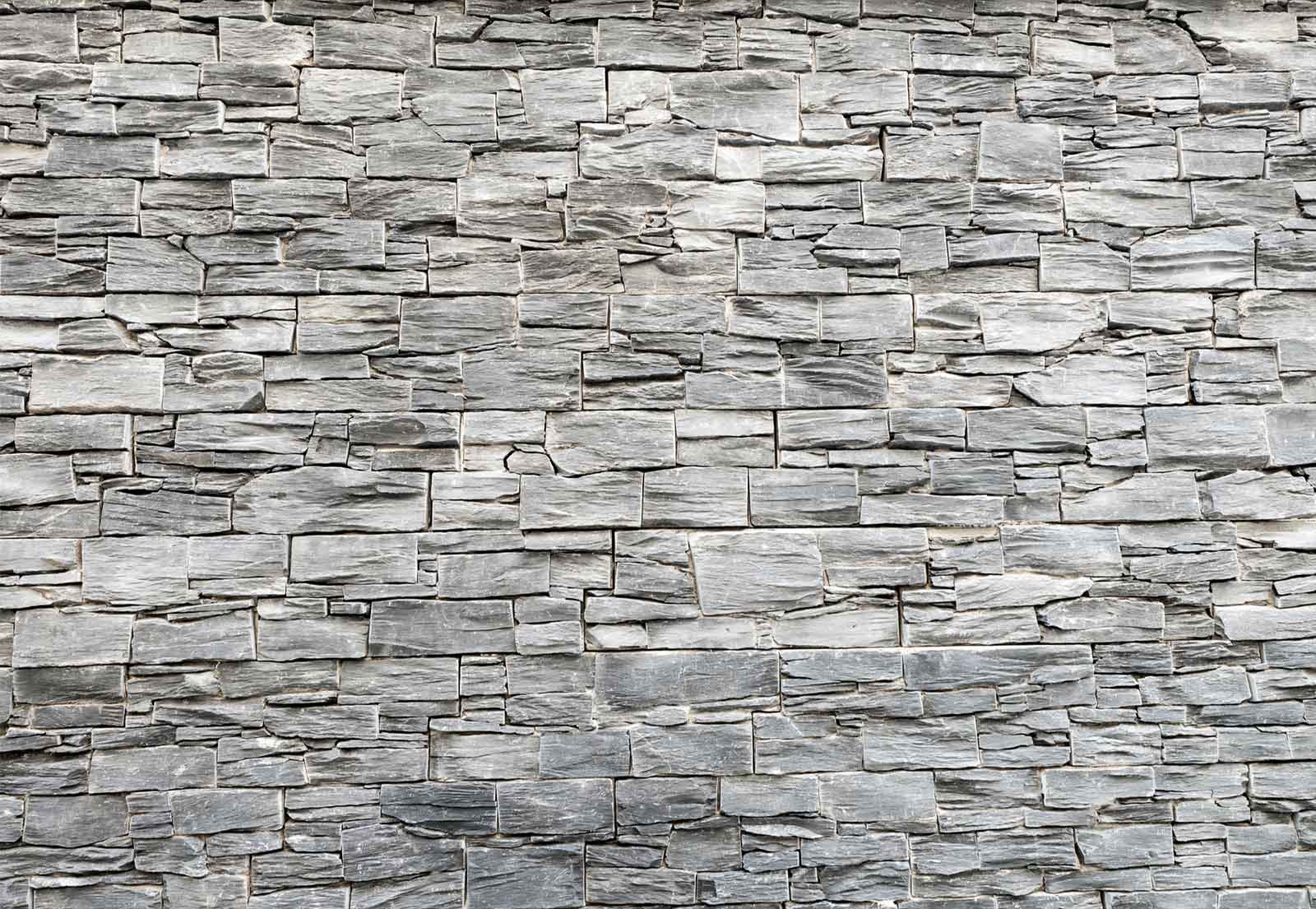 Brick Stone Concrete Wood Planks Wall Mural Photo