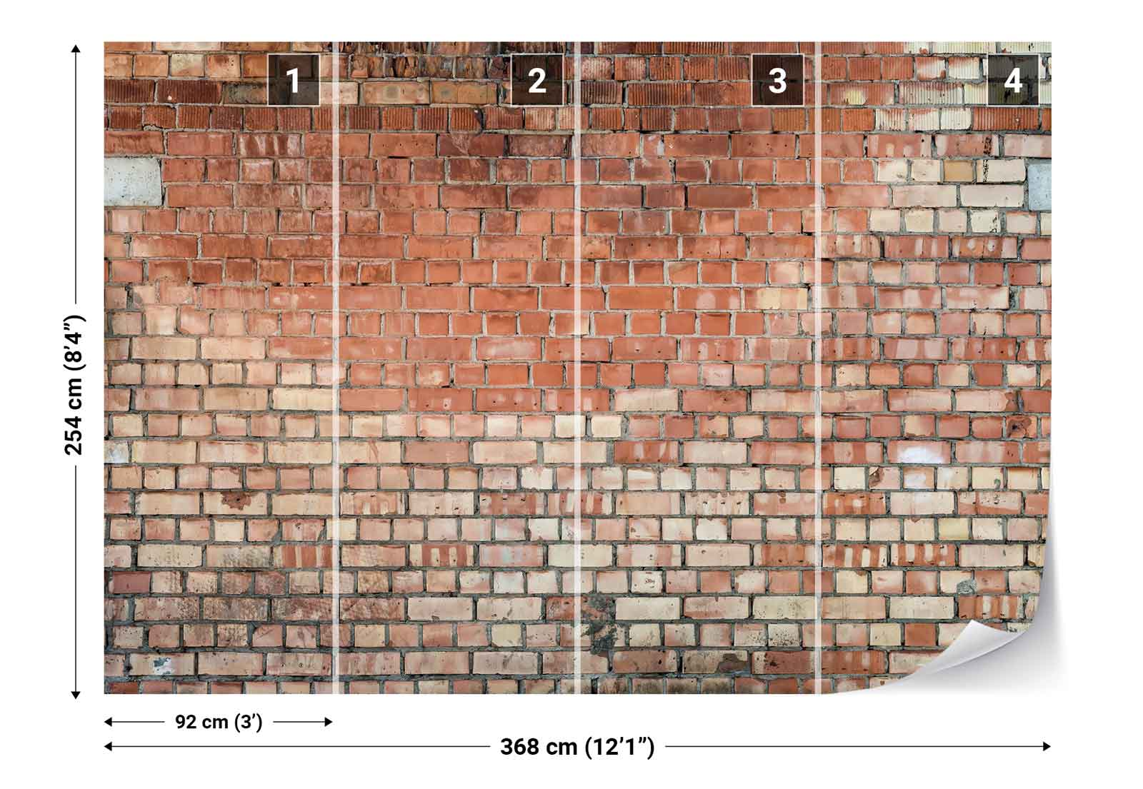 Old brick wall texture photo wallpaper wall mural fw 1156 for Brick mural wallpaper