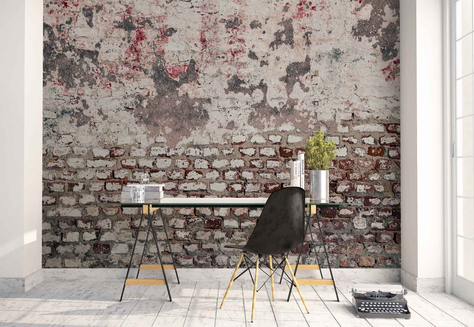 Grunge brick wall texture photo wallpaper wall mural fw for Brick wall mural